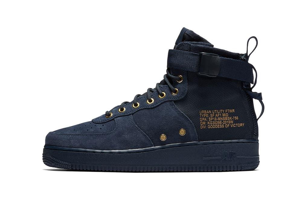 Nike SF AF1 Mid Obsidian Suede Navy Blue Gold Air Force 1 2017 December Release Date Info Sneakers Shoes Footwear