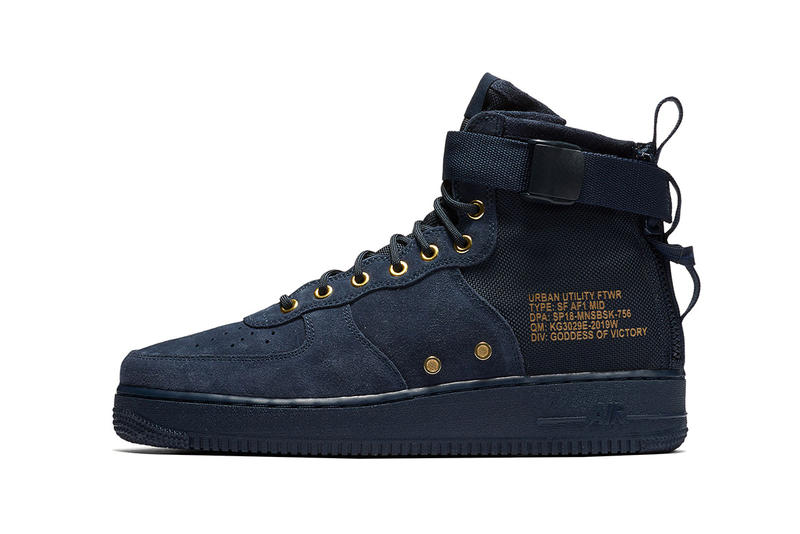 Nike SF AF1 Mid Obsidian Suede Navy Blue Gold Air Force 1 2017 December Release Date Info Sneakers Shoes Footwear