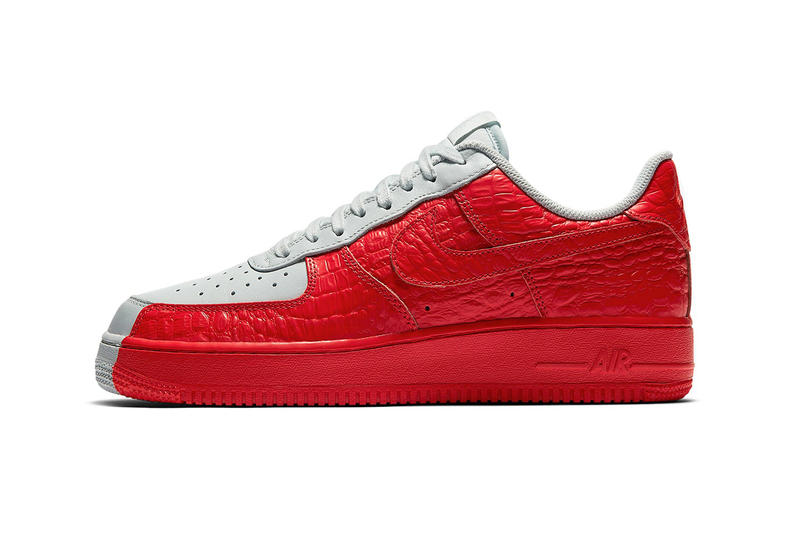 new product c8e20 cc81b AF1 Nike Air Force 1 low crimson sneaker split faux reptilian leather shoes  release info monochromatic