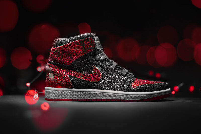"The Shoe Surgeon Drops AJ1 ""North Pole Breds"" Air Joran 1 Sneaker Shoes Menswear Christmas Glitter Kicks Customs"