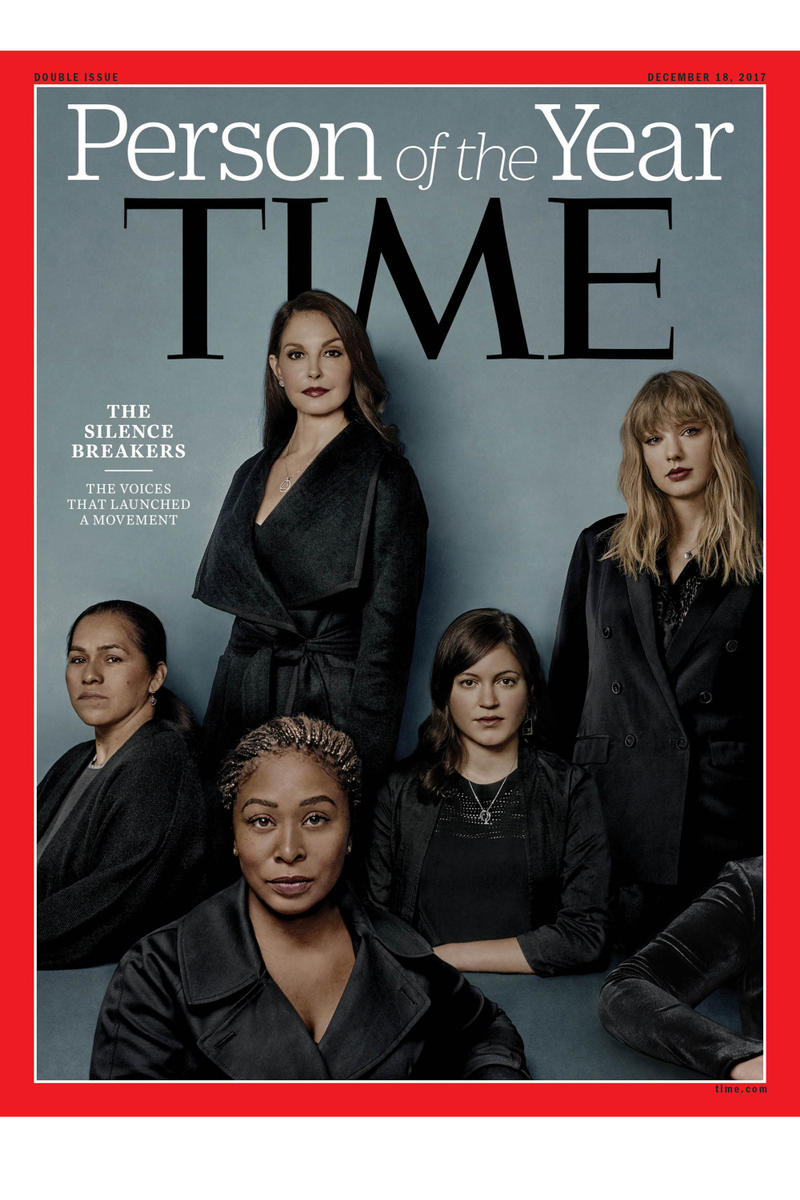 TIME Person of the Year The Silence Breakers Terry Crews Taylor Swift Rose McGowan Ashley Judd Harvey Weinstein Alyssa Milano Selma Blair Plaza Hotel James Toback Travis Kalanick John Besh Sara Gelser David Mueller Megyn Kelly Kevin Spacey Louis CK Al Franken