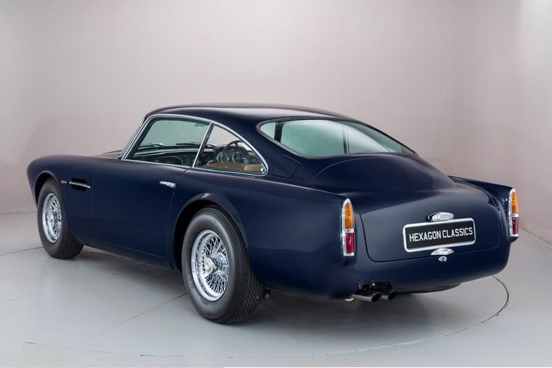Blu Scozia car aston martin blue rebuilt upgraded vintage engine expensive preproduction auction Hexagon Classics 1959 db4 james bond