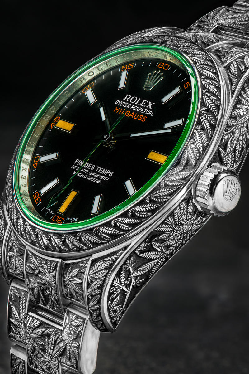 Rolex Oyster Perpetual Milgauss Cannabis Weed Marijuana Custom Timepieces Watches Third Eye Assembly Handmade Engraving