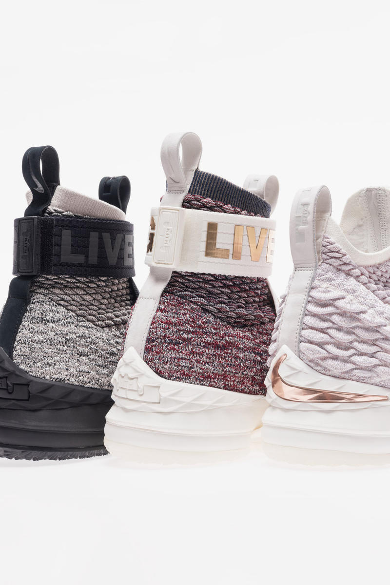 029ae0644a8 Ronnie Fieg Nike LeBron 15 Long Live the King kith strap straps laceless  black white grey