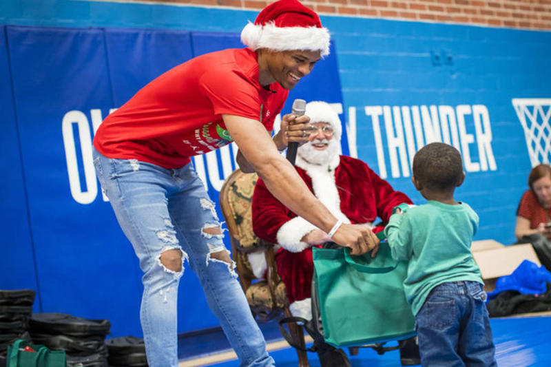 Russell Westbrook Jordan Brand Oklahoma City Thunder Basketball Homeless Children Christmas Presents Nike
