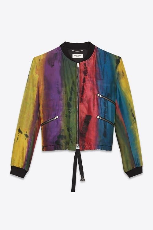 Saint Laurent Tie Dye Multi Colored Silk Varsity Jacket Spring Summer 2018