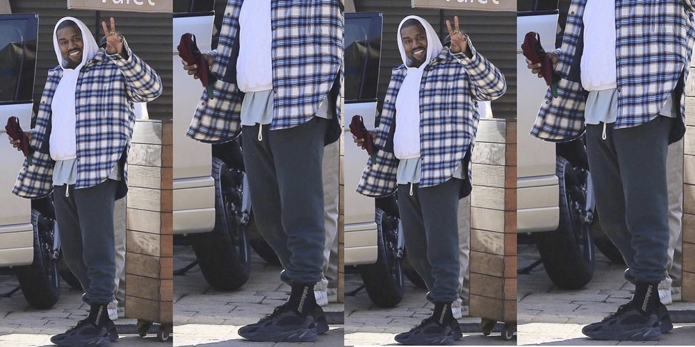 Kanye West in Black adidas YEEZY Wave