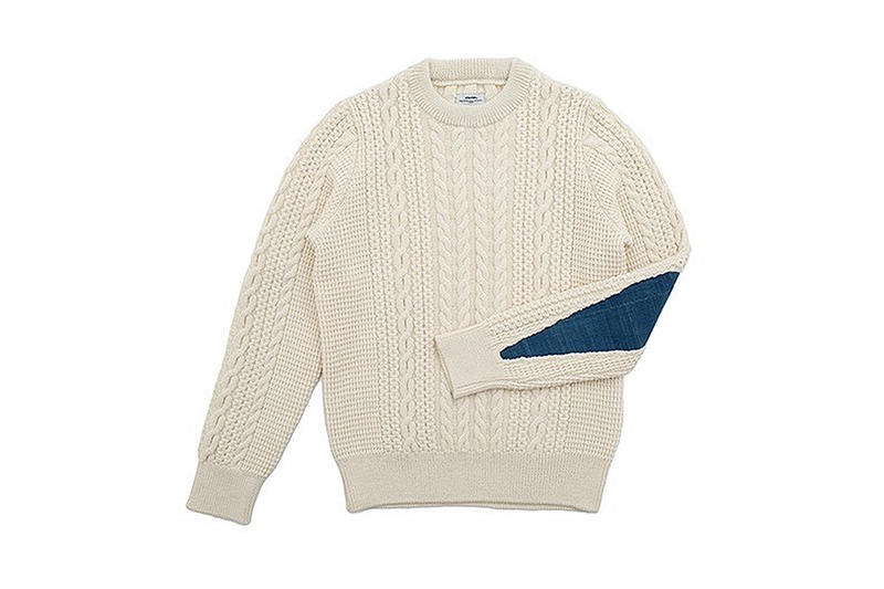visvim fisherman cable knit sweater fil exclusive white indigo patch