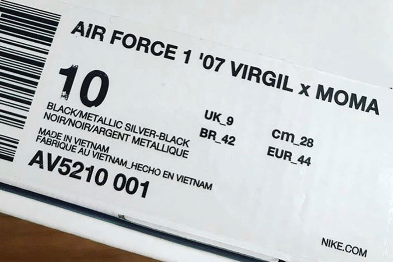 Virgil Abloh x MoMA Air Force 07 Sneakers Nike Museum of Modern Art