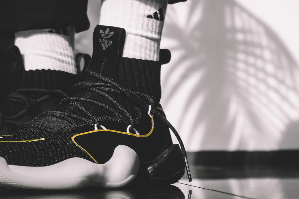 adidas Crazy BYW X on foot black white yellow blue footwear release date info drops