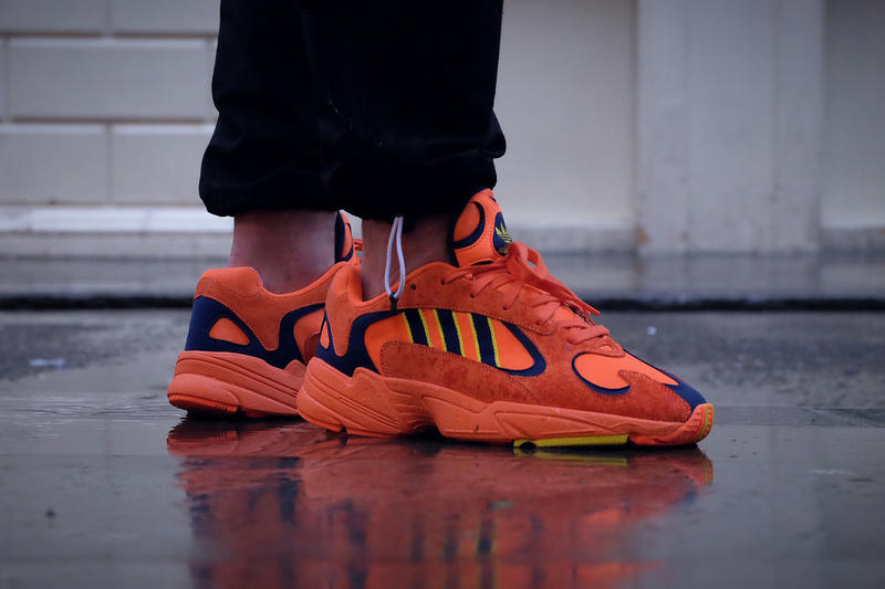 adidas Yung1 Orange navy yellow on foot