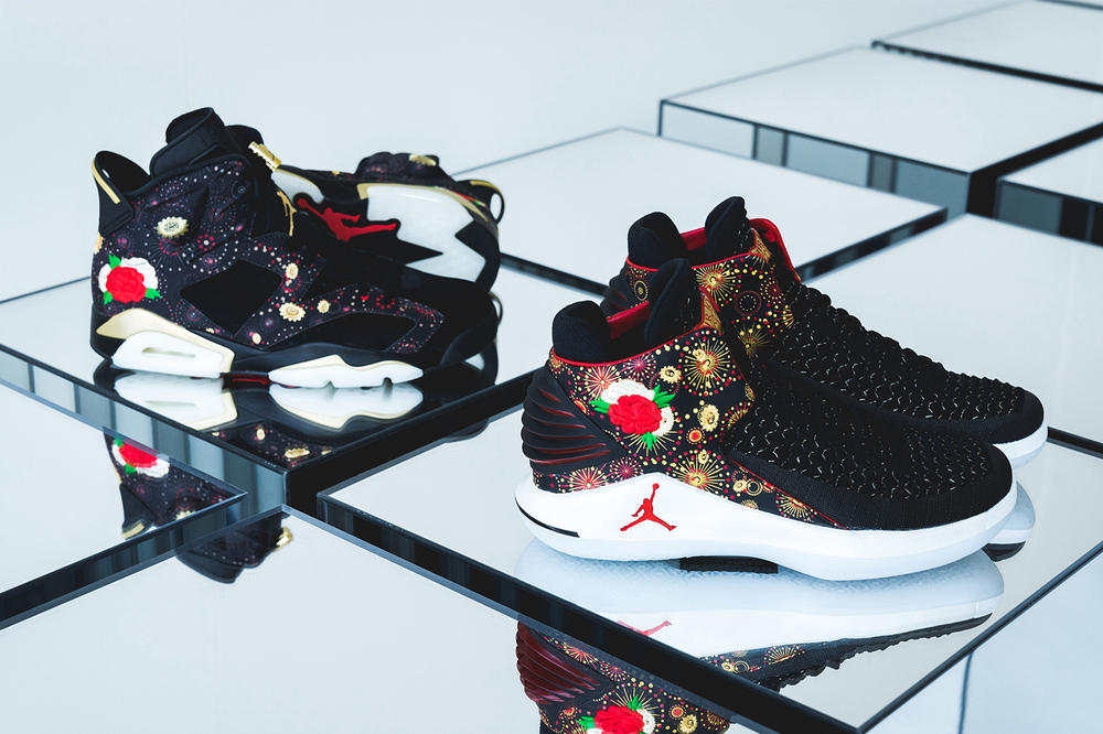 Air Jordan 6 32 low Chinese New Year cny black gold red fireworks flower floral embroidery january february release date footwear 2018