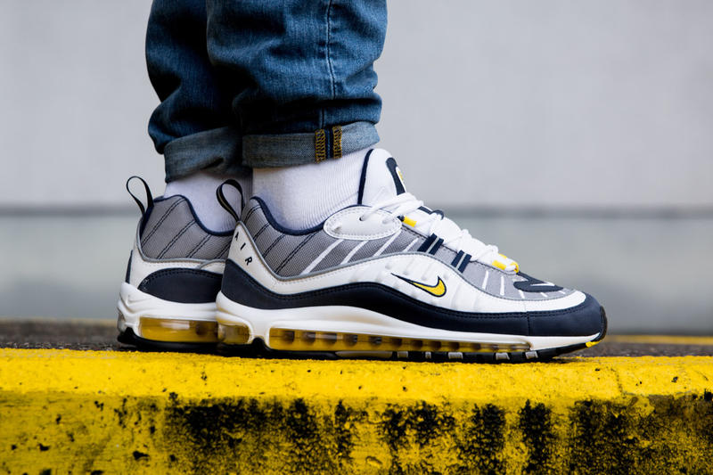 c22647df67c9 Nike Air Max 98 Gundam Tour Yellow Footwear Sneakers Shoes On Feet Closer  Look Release Date