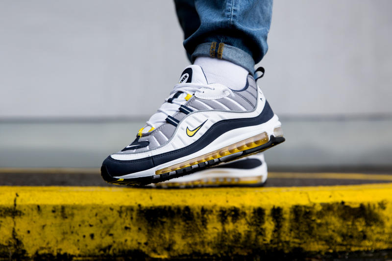 Nike Air Max 98 Gundam Tour Yellow Footwear Sneakers Shoes On Feet Closer Look Release Date Info Drops January 26 2018