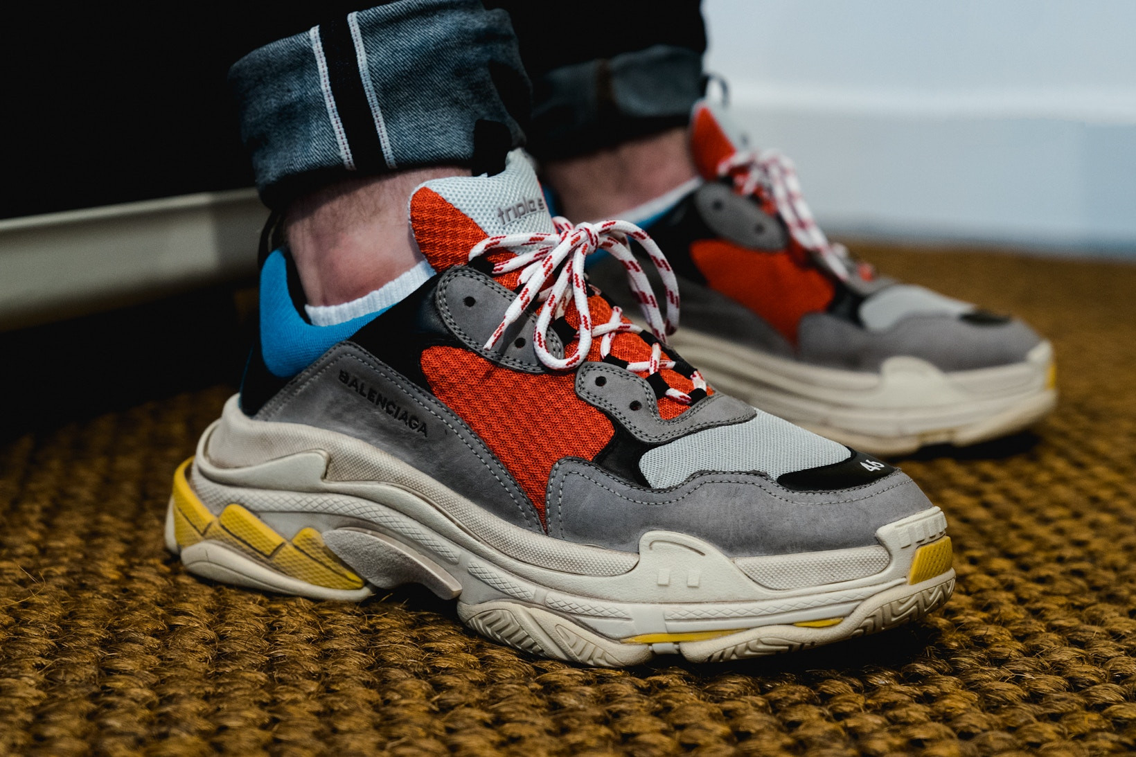 White Triple S Leather and Mesh Sneakers Balenciaga MR