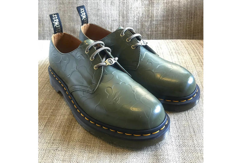 BAPE A Bathing Ape Dr. Martens Green Leather Three-Eye Shoes Ape head green leather