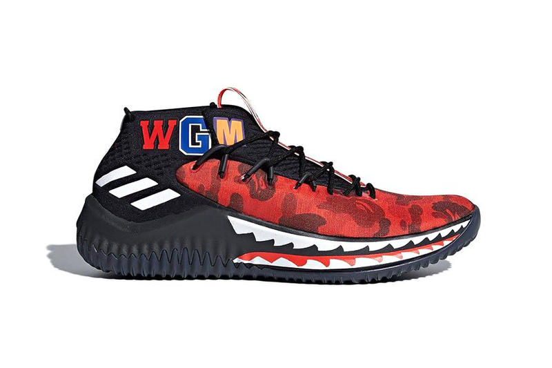 size 40 213f1 63d0c BAPE adidas DAME 4 Friends and Family red camo collaboration footwear