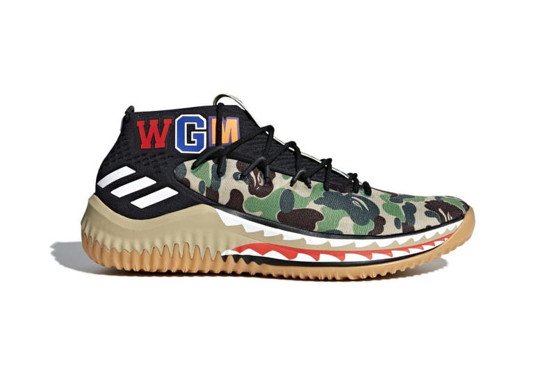 new product 774e3 47486 BAPE adidas Dame 4 Green Black Camo Camouflage 2018 Release Date Info  Sneakers Shoes Footwear