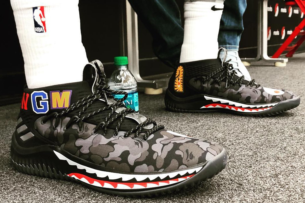 BAPE x adidas Dame 4 Black Camo On-Feet