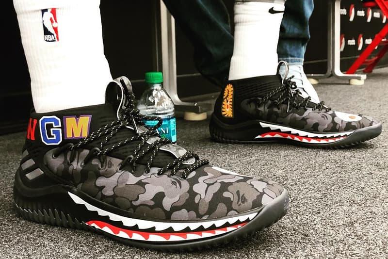 BAPE adidas Dame 4 on foot black camo footwear