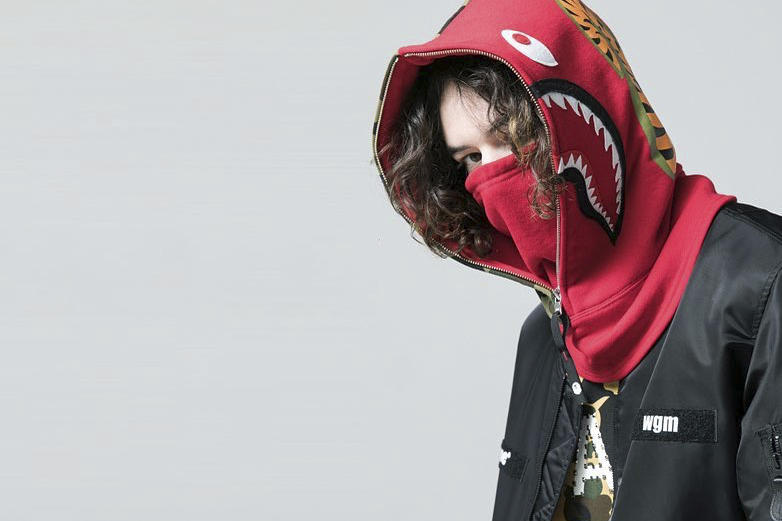 BAPE A Bathing Ape Shark Hoodie Face Mask Black Red