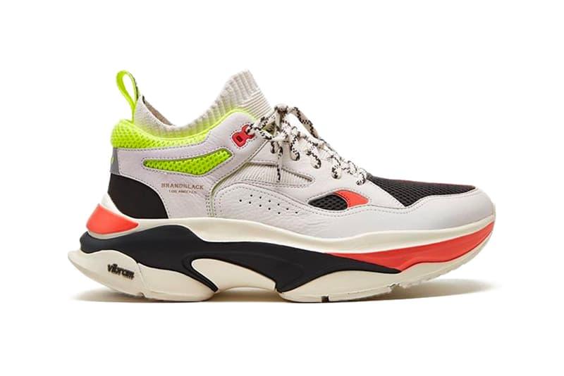 Brandblack Aura II Retro Chunky Sneaker White Black Neon Orange Green