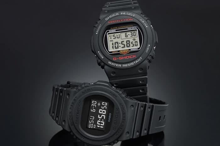 Casio G Shock DW 5750E Digital Watch Water Resistant 1983 Black Clear 35th Anniversary