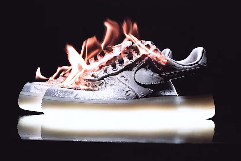 25c45a47b0e Watch CLOT Set Fire to Its Own Nike Air Force 1 Premium