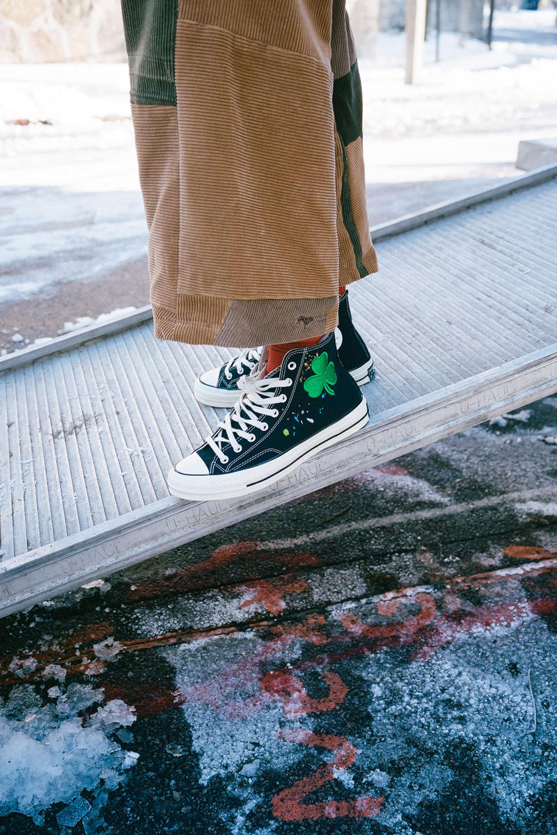 Bandulu Street Couture Converse Chuck Taylor All Star 70 Pat Peltier Essentials Ode to Boston Embroidered Handmade Handstitched Signed Boston Celtics Three Leaf Clover White Black