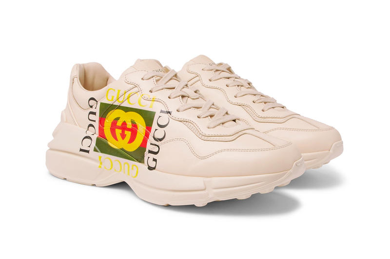 Gucci Rhyton Printed Leather Sneakers Retro