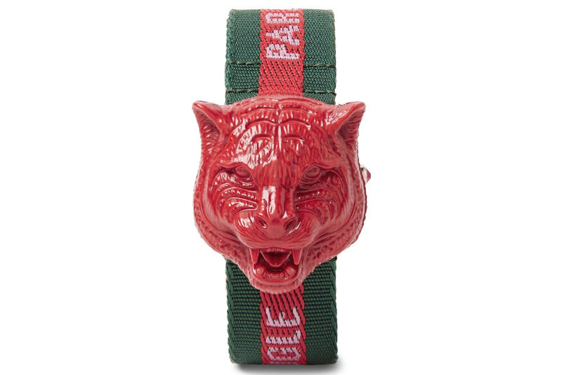 Gucci Tiger Head Resin Grosgrain Watch fashion accessories