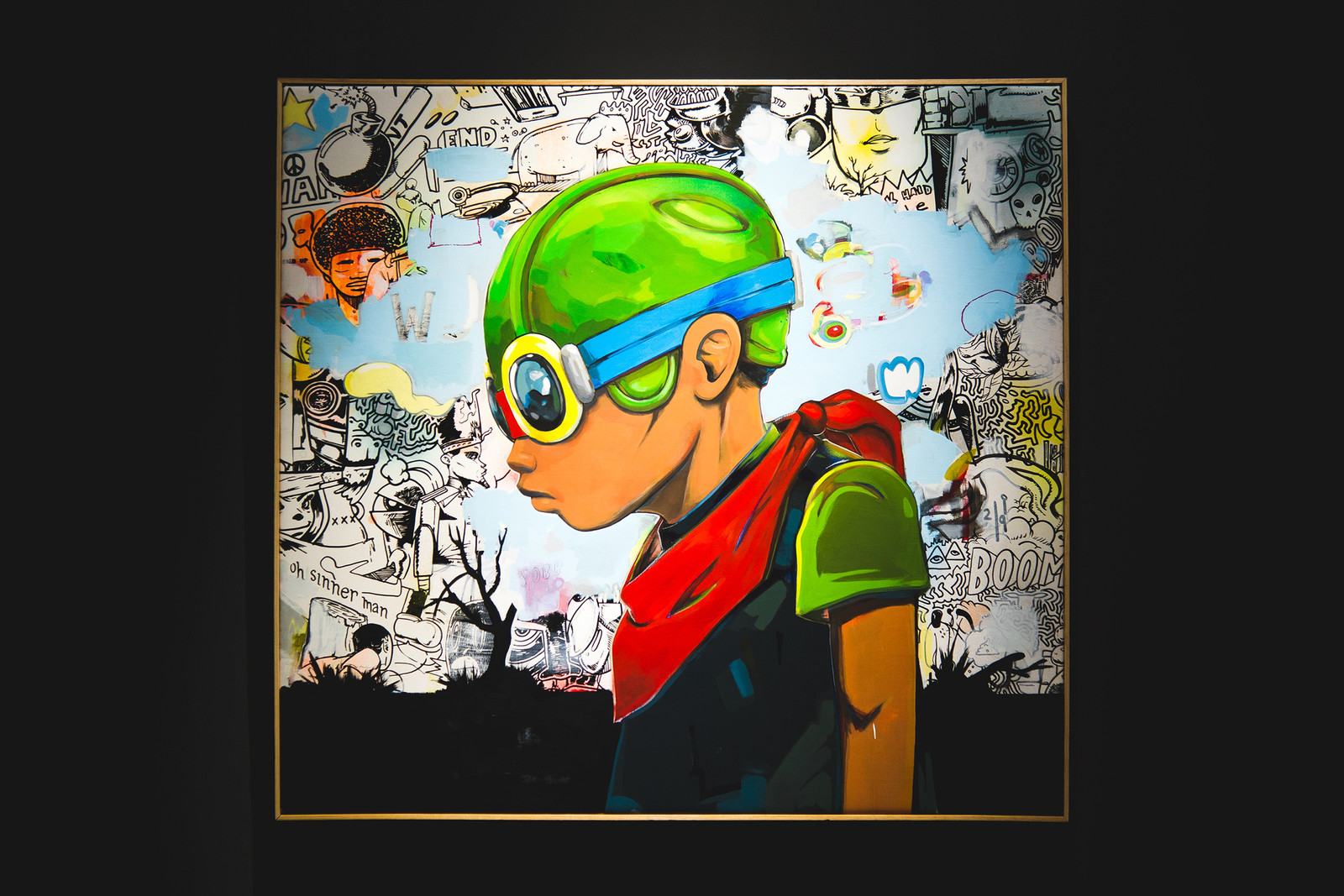 Hebru Brantley Fly Boy Lil MaMa art painting artist avenue des arts gallery