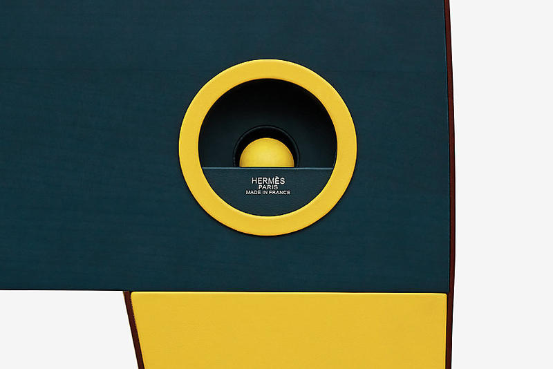 Hermes 68,000 Foosball Table green yellow leather calfskin