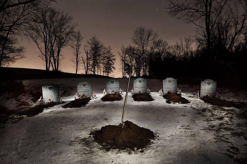 Indecline Donald Trump Grave New World Tombstones Guerrilla Street Art Collective Activist Cemetary
