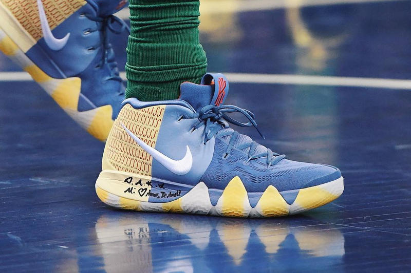 Kyrie Irving Nike Kyrie 4 PE Blue Yellow White London Basketball Game The O2