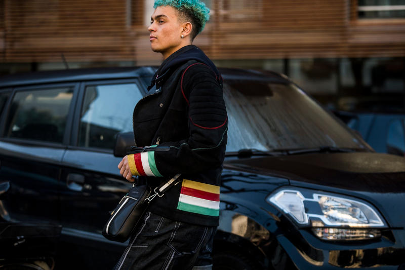Milan Fashion Week Fall/Winter 2018 Street Style men's burberry gosha rubchinskiy streetsnaps supreme