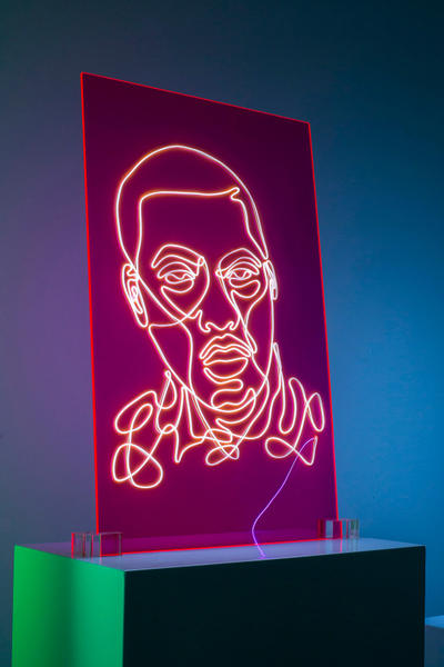 Neon Rap Portraits Natalie Wong Kanye West Drake Eminem Pharrell Notorious BIG Tupac Shakur Lauryn Hill Nas Snoop Dogg