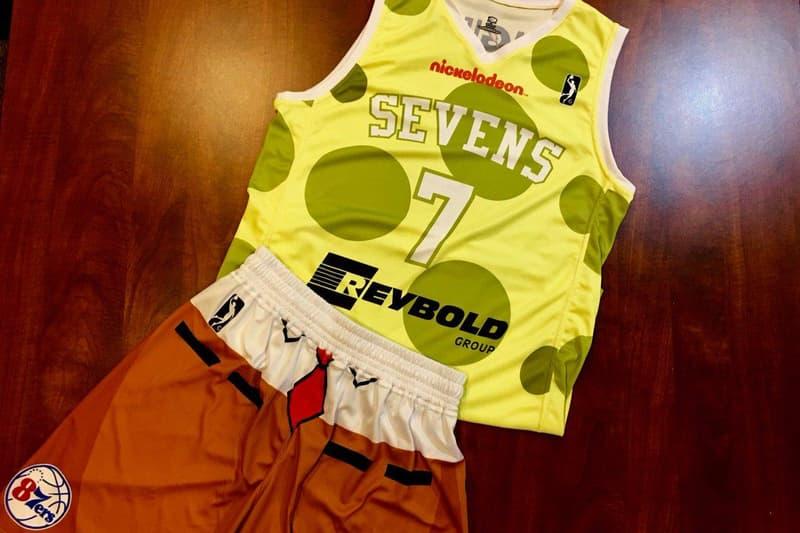 76ers NBA G gatorade League Spongebob squarepants Jersey uniform Nickelodeon Night delaware 87ers basketball sevens