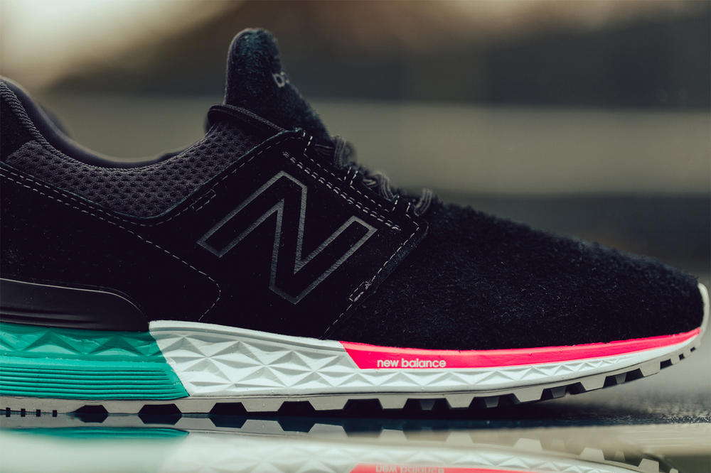 New Balance 574 black tidepool white footwear pink teal aquamarine south beach miami feature sneaker boutique