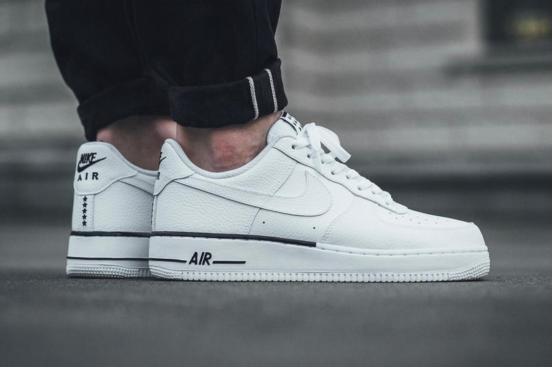 low priced bce43 86948 Nike Air Force 1  07 Premium Low White Black Leather Stars