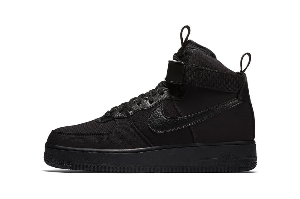 Nike Air Force 1 High Canvas Triple Black 2018 January 23 Release Date Info Sneakers Shoes Footwear