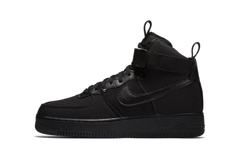 Nike Air Force 1 High Canvas Triple Black 2018 January 23 Release Date Info Sneakers Shoes Footwear