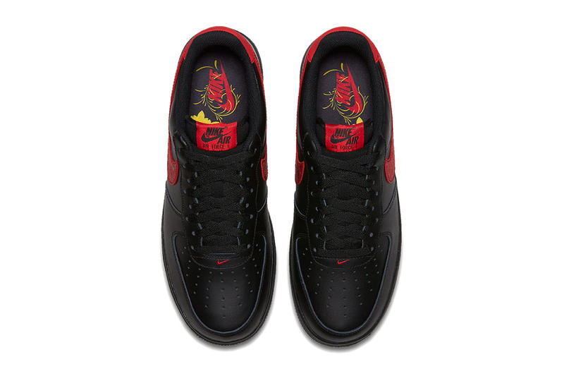 Nike Air Force 1 Low Black University Red Paisley Leather Sneakers