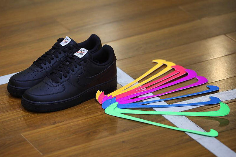 Nike Air Force 1 Velcro Swoosh footwear black white yellow red purple blue green