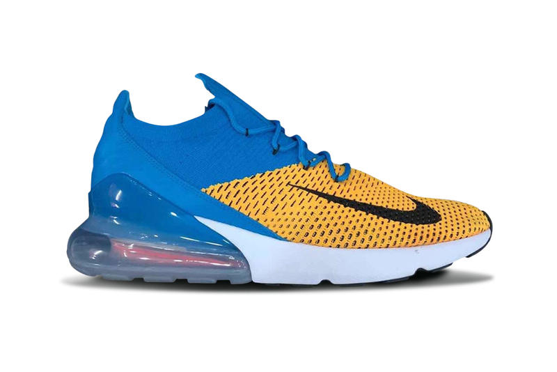 a7f5e4780a2c Nike Air Max 270 Flyknit Blue Yellow Teaser Images Footwear Running