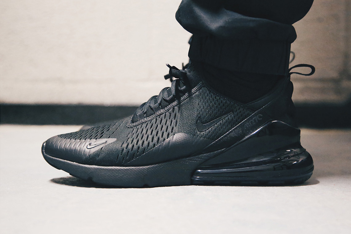 Nike Air Max 270 Triple Black On Feet Look Hypebeast