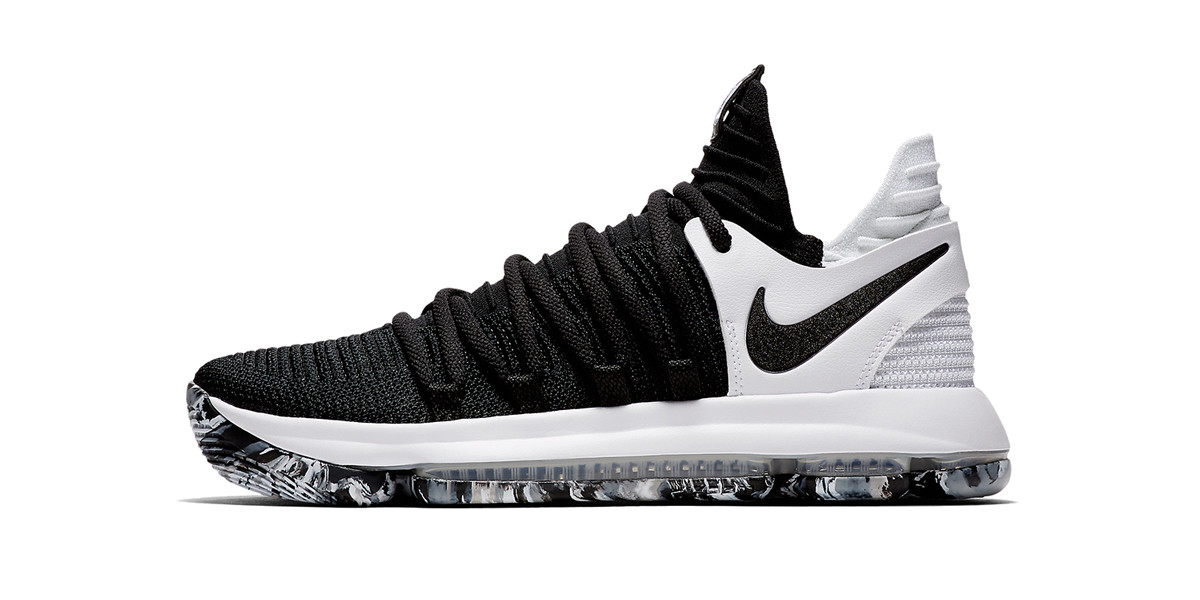 Nike KD 10 Black/White Marbled Outsole