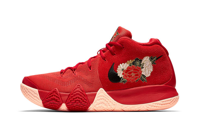 Nike Kyrie 4 Chinese New Year january release date red floral Kyrie Irving footwear flowers peach plum peonies blossom orchid cny 2018