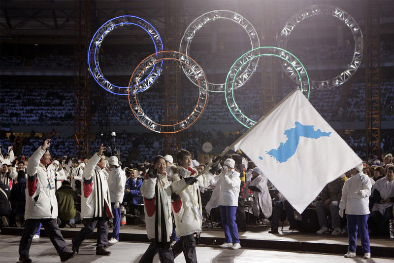 North South Korea One 1 Flag 2018 Winter Olympics Pyeongchang Games Unified unit unification