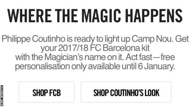 Philippe Coutinho Liverpool Barcalona football soccer nike website kit